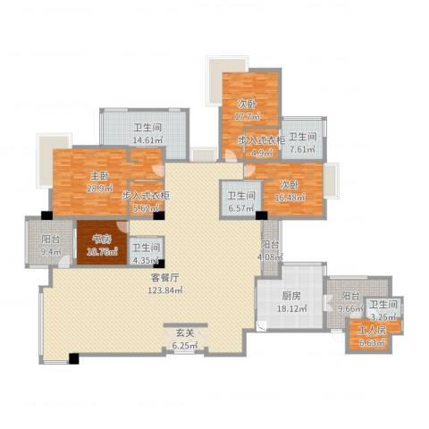 绿洋山庄4室2厅5卫1厨366.00㎡户型图