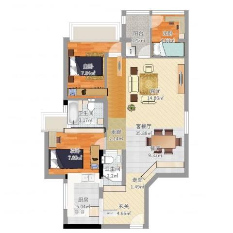 怡廷豪园3室2厅2卫1厨88.00㎡户型图