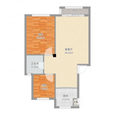 鼎新鼎润府2室2厅1卫1厨87.00㎡户型图