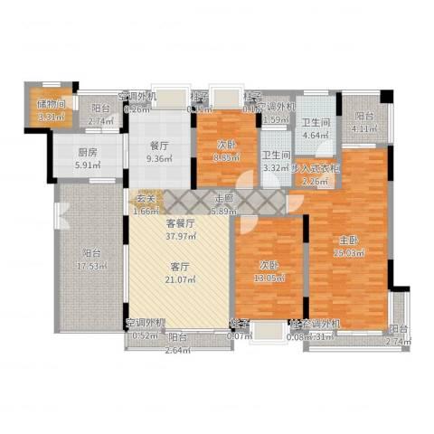 曲江南苑3室2厅2卫1厨171.00㎡户型图