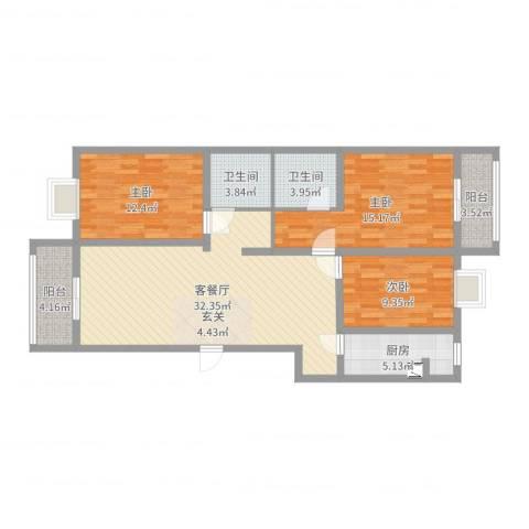 大唐世家3室2厅2卫1厨112.00㎡户型图
