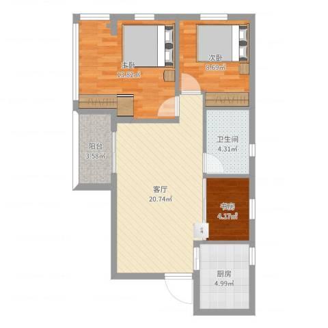 广海花园二期3室1厅1卫1厨75.00㎡户型图