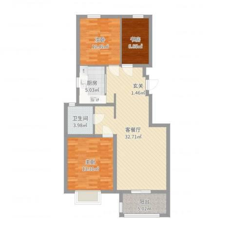 苏宁雅居3室2厅1卫1厨97.00㎡户型图