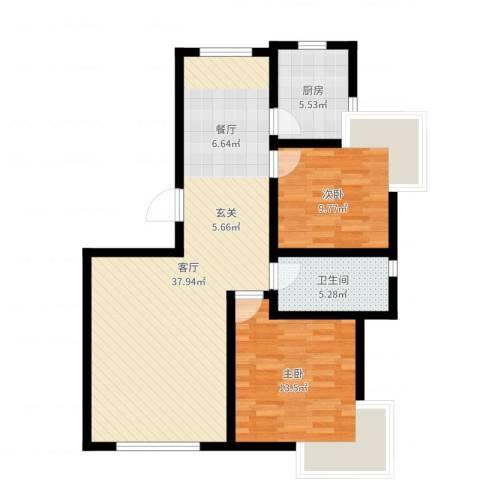 天房郦堂2室1厅1卫1厨90.00㎡户型图