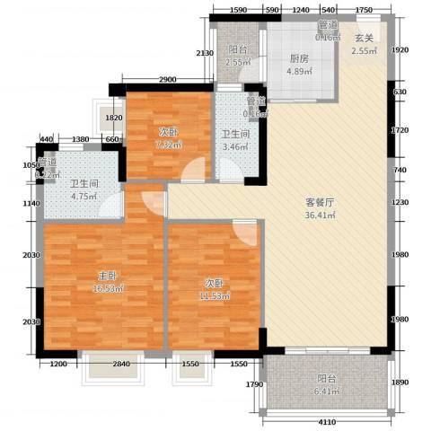 荔园悦享星醍3室2厅2卫1厨120.00㎡户型图
