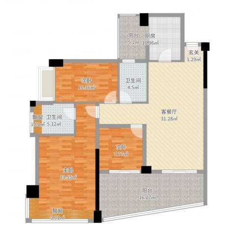 从化金碧苑3室2厅2卫1厨137.00㎡户型图