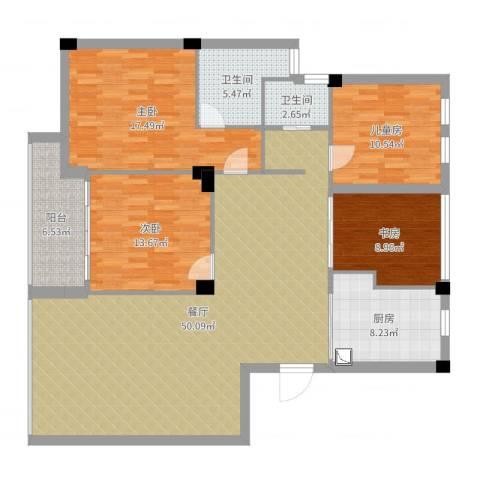 风格城事4室1厅2卫1厨155.00㎡户型图