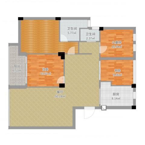风格城事3室1厅2卫1厨142.00㎡户型图