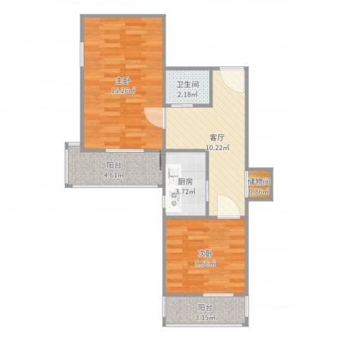 和平里民旺园2室1厅1卫1厨64.00㎡户型图