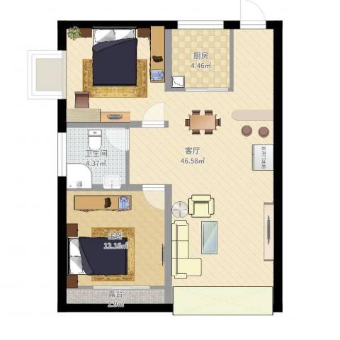 栖里凤台小区1室1厅1卫1厨87.00㎡户型图