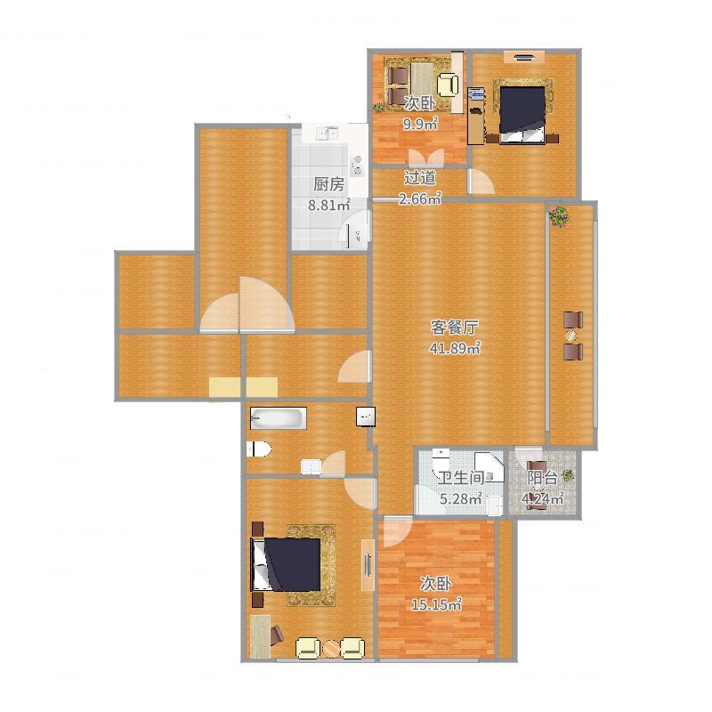 绿城御园客厅、餐厅总面积170平方