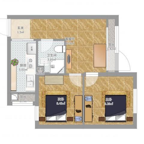 佳和雅庭2室2厅1卫1厨51.00㎡户型图