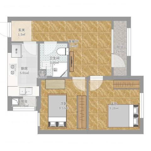 佳和雅庭2室2厅1卫1厨53.00㎡户型图