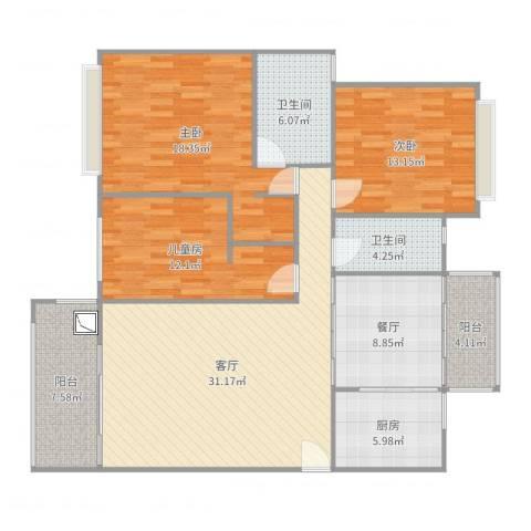 红河云岭・盛世佳园3室2厅2卫1厨140.00㎡户型图