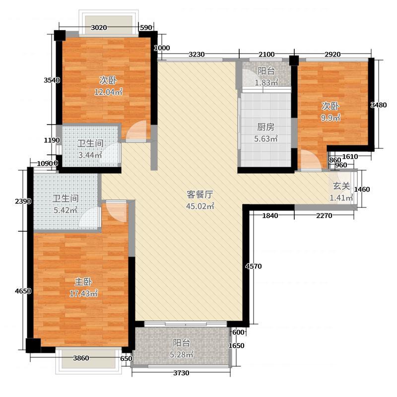 晋江万达广场133.00㎡E户型3室3厅2卫1厨