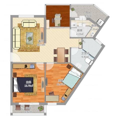 风格城事3室1厅1卫2厨96.00㎡户型图