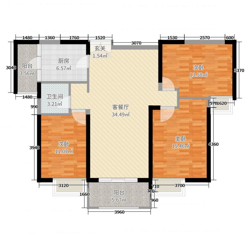 晋江万达广场117.00㎡C户型3室3厅1卫1厨