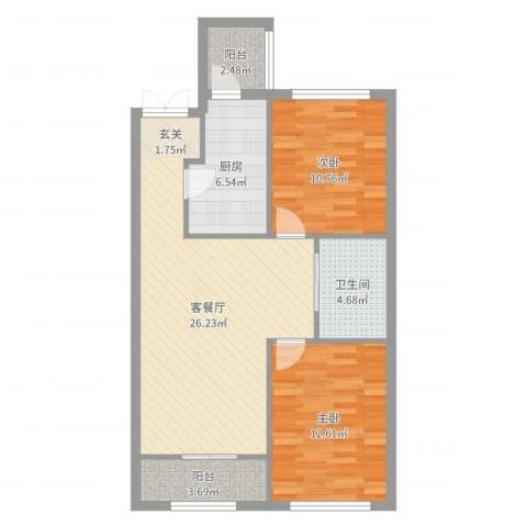 融泽家园2室2厅1卫1厨84.00㎡户型图