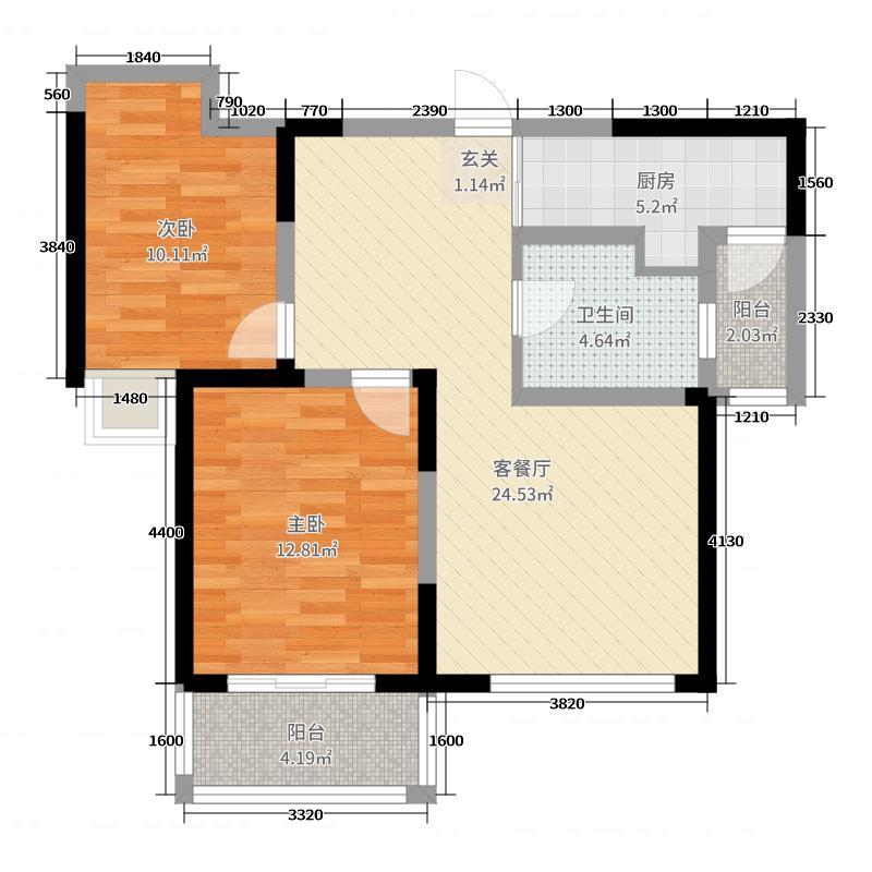 虞河生活城96.16㎡10号楼2H2户型2室2厅1卫1厨