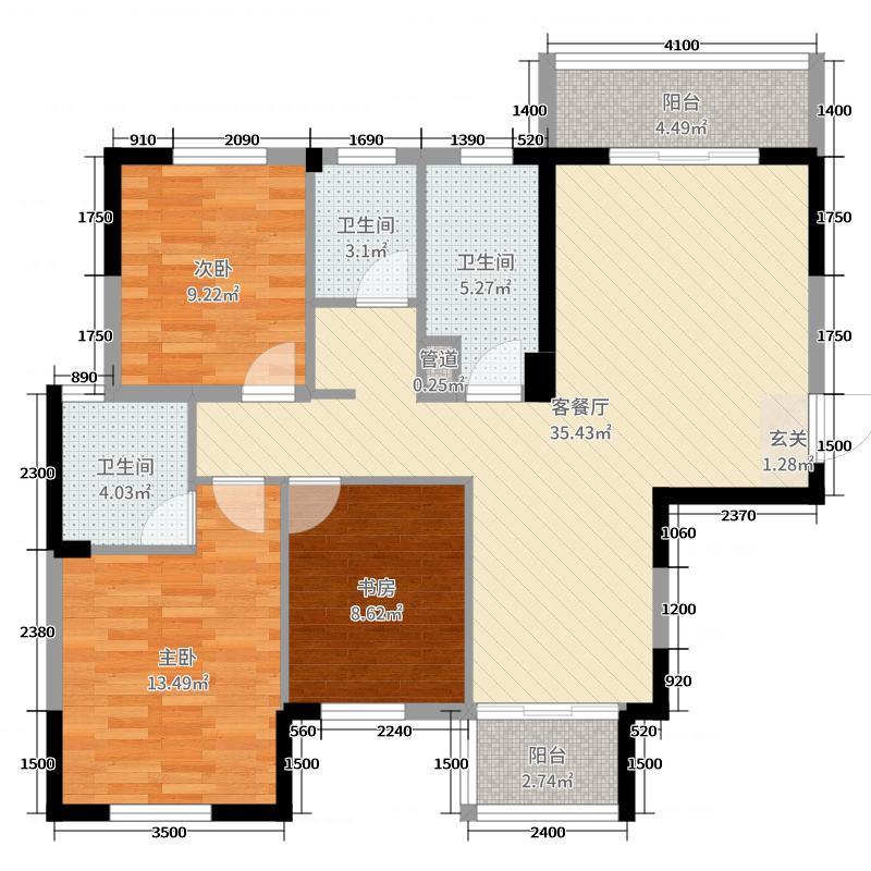 时代星空122.83㎡3栋A1户型3室3厅2卫1厨