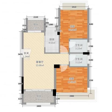 美林假日2室2厅2卫1厨90.00㎡户型图