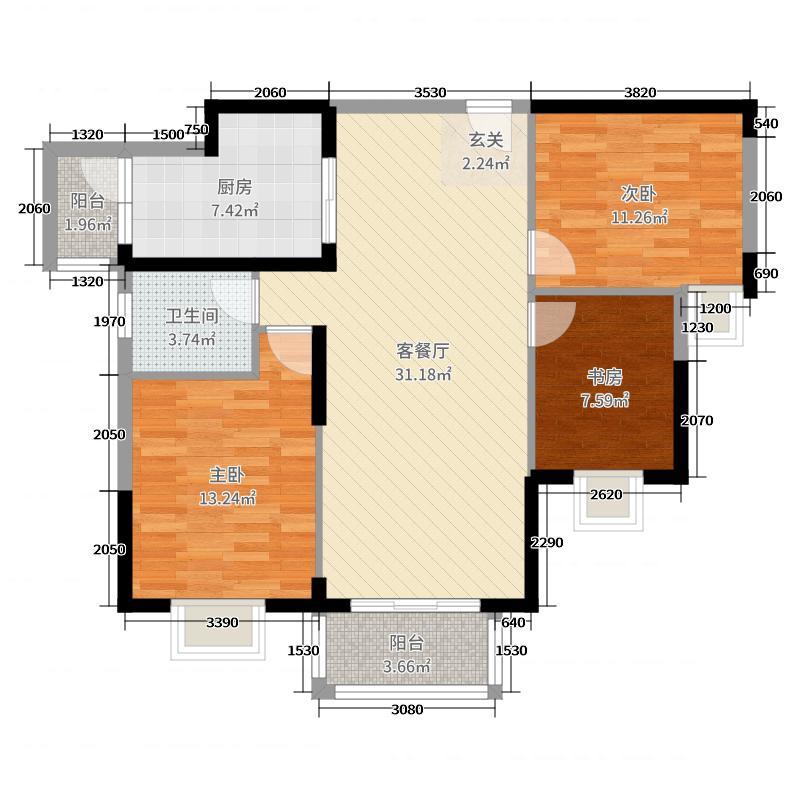 盛和景园108.44㎡7-7户型3室3厅1卫1厨