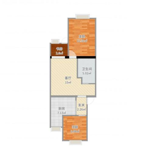 清华园6号楼3室1厅1卫1厨64.00㎡户型图