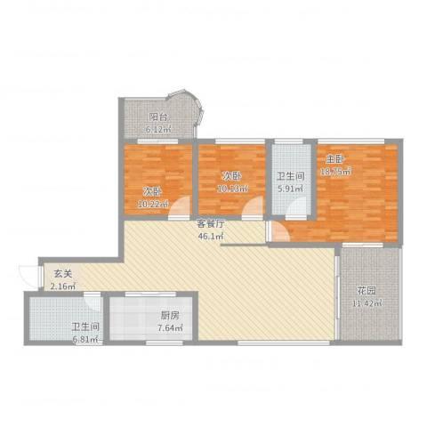 丽景花城3室2厅2卫1厨175.00㎡户型图