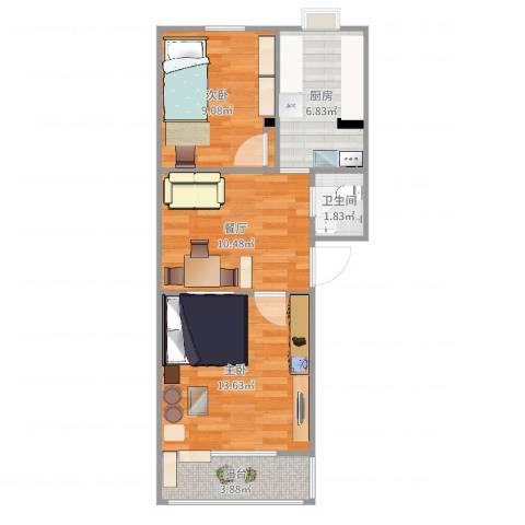 大井东里小区2室1厅1卫1厨57.00㎡户型图