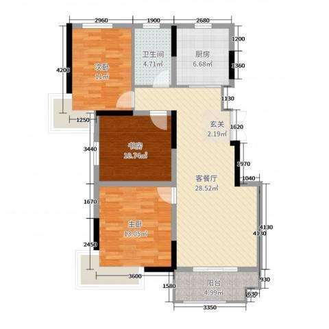 凤凰星城3室2厅1卫1厨107.00㎡户型图