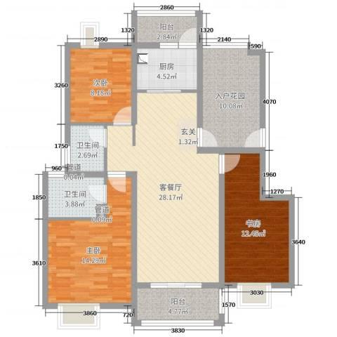 万达西双版纳国际度假区3室2厅2卫1厨115.00㎡户型图