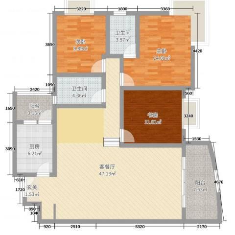 升伟新民居3室2厅2卫1厨135.00㎡户型图