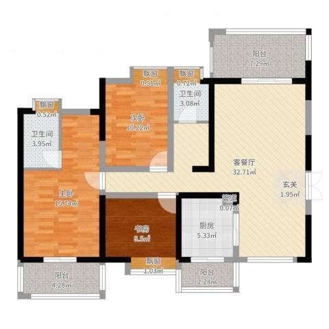 长城南苑3室2厅2卫1厨117.00㎡户型图