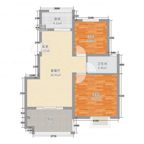 19802室2厅1卫1厨87.00㎡户型图