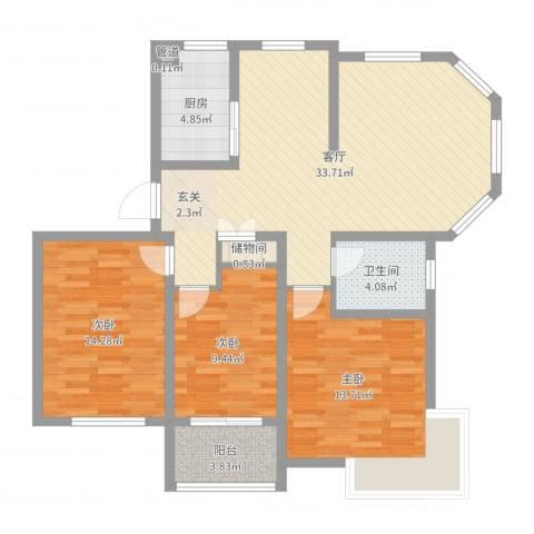 锦汇苑3室1厅1卫1厨106.00㎡户型图