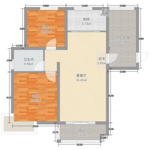 19802室2厅1卫1厨105.00㎡户型图