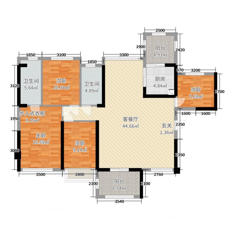 东盟城128.14㎡15号楼02户型5室5厅2卫1厨