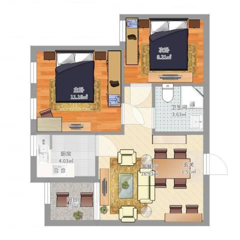 侨成金沙城2室2厅1卫1厨46.66㎡户型图