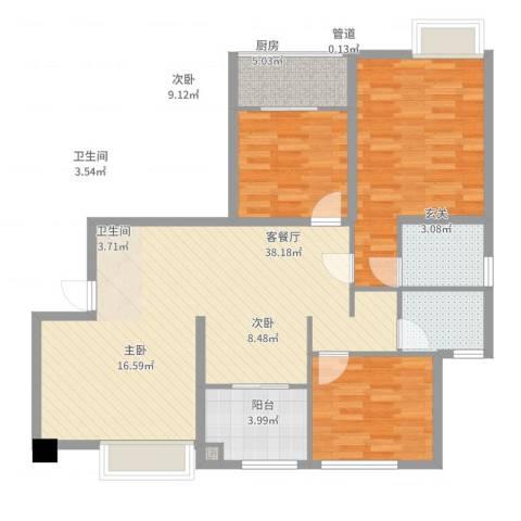 龙海明发广场3室2厅2卫1厨125.00㎡户型图