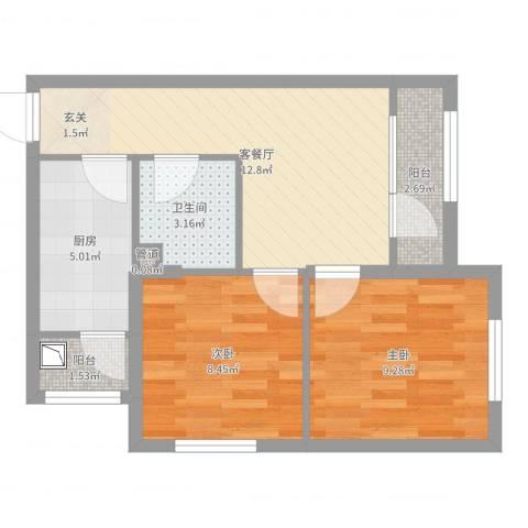 佳和雅庭2室2厅1卫1厨54.00㎡户型图