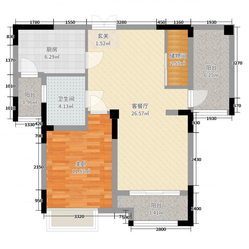 华�N沁园79.00㎡户型1室1厅1卫1厨