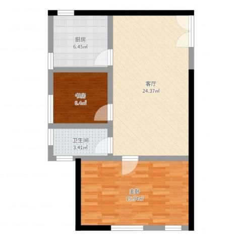 中国铁建・梧桐汇2室1厅1卫1厨71.00㎡户型图