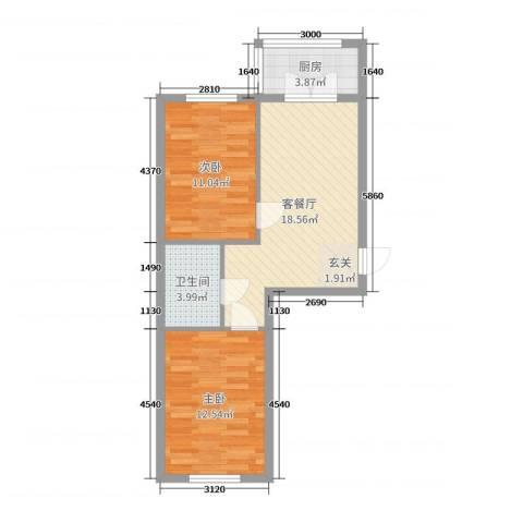 铂宇剑桥郡2室2厅1卫1厨64.00㎡户型图