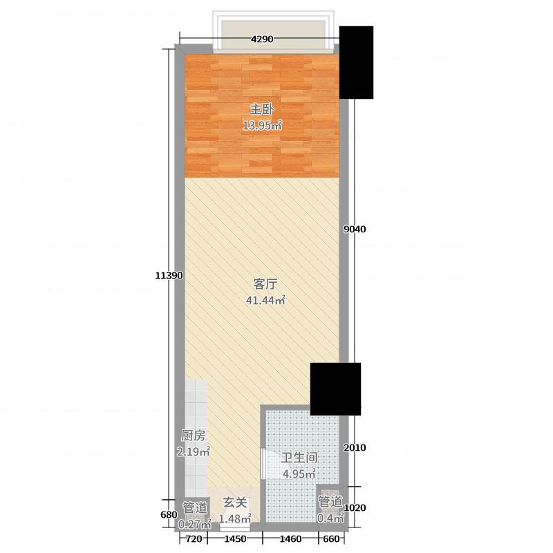 恒大城・上城58.84㎡H公寓C户型1室1厅1卫1厨