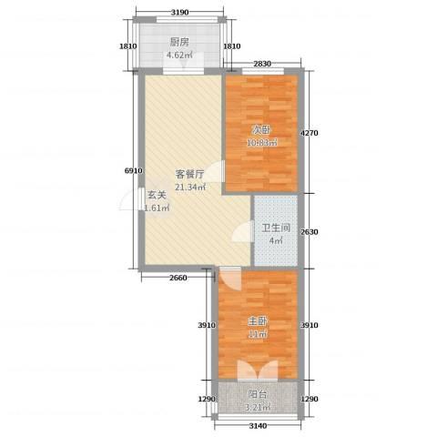 铂宇剑桥郡2室2厅1卫1厨69.00㎡户型图