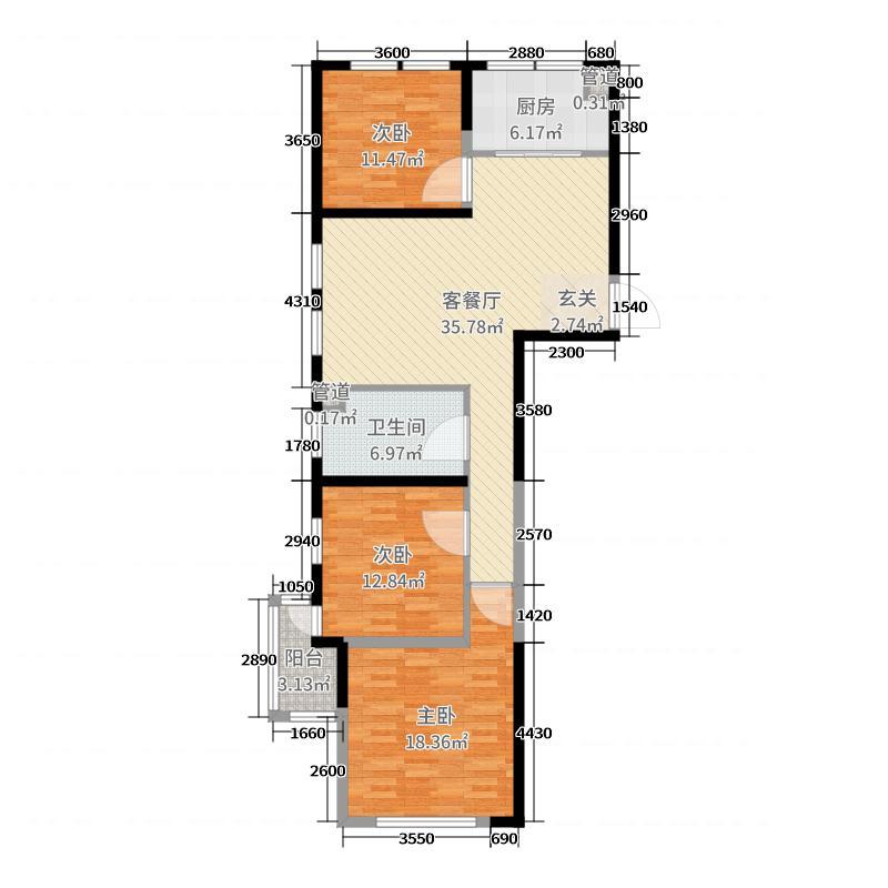 金象泰温馨家园119.00㎡7号楼8号楼A户型3室3厅1卫1厨