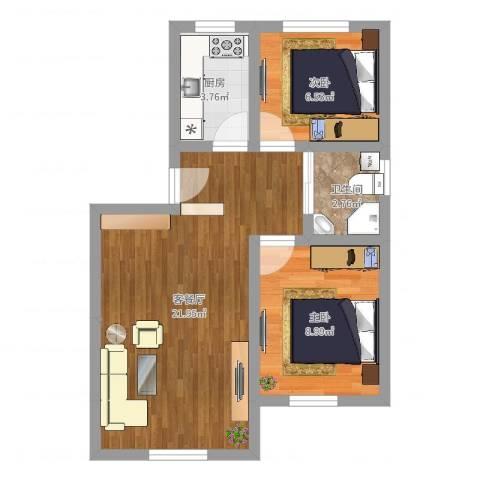 富润阳光2室2厅1卫1厨55.00㎡户型图