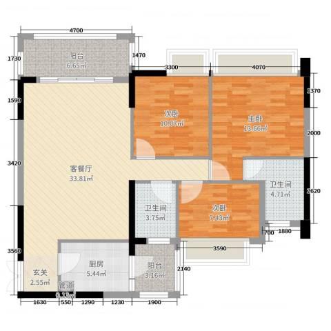 君汇尚品3室2厅2卫1厨111.00㎡户型图