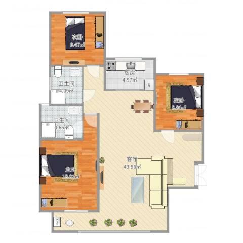 瑞府3室1厅2卫1厨113.00㎡户型图