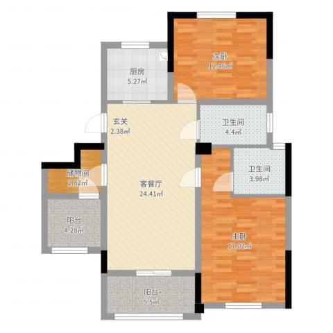 金鑫花苑2室2厅2卫1厨100.00㎡户型图
